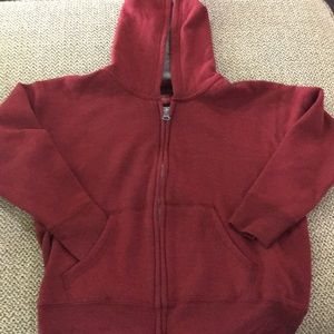 Hanes Red hooded  Jacket size is childs XS